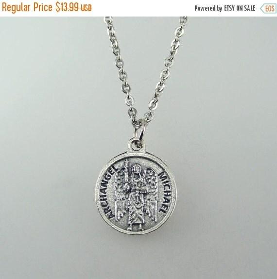 michael prayer medal necklace by hopefaithandbeads