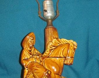 Vintage Mid Century Ceramic Cowboy & Horse Lamp