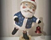 Patriotic Santa  - papier mache- folk art- handmade art doll- folk art-Americana