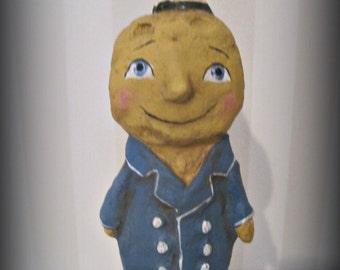 Man in the Moon  - Halloween  -paper mache - handmade art doll- folk art