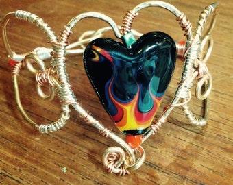 Hearts on Fire Wire Wrap Bracelet