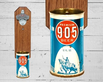 Nine O' Five Wall Mounted Bottle Opener with Vintage 905 Beer Can Cap Catcher Great Gift for guy