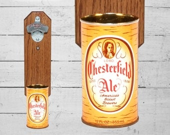 Lord Chesterfield Wall Mounted Bottle Opener with Vintage Beer Can Cap Catcher - Gift for Guys