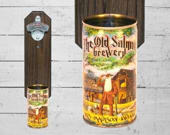 Madison Indiana Brewery Bottle Opener with Vintage Old Salmon Historical Collector Beer Can Cap Catcher Groomsmen Gift for Guy