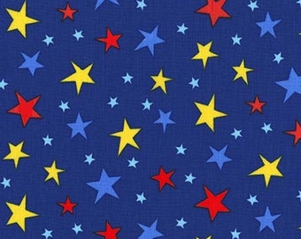 Atomic stars in Nite by Michael Miller Fabrics - your choice of cut