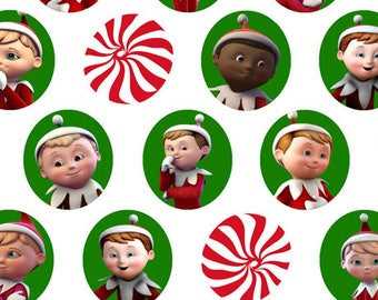 Elf on the Shelf - character heads and Mints from Quilting Treasures - by the yard