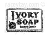 Bathroom Wall Art- Ivory Soap Black and White Photography Bath Wall Art- Vintage Soap Advertisement