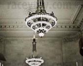 New York City Art Deco Chandelier Wall Art- NYC Art, New York Print, Gold, Beige, Bedroom Wall Art Decor Print