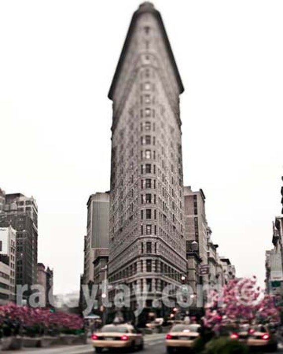 New York City Print, Flatiron Building, Beige Pink Wall Art - Magnolias and Yellow Taxi Cab- NYC Art- Architecture Print