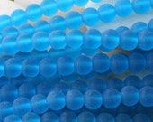 6mm Round Sea Glass Beads - Jewelry Making Supply - Frosted Glass Beads - Varied Amounts -  Deep Aqua Seaglass