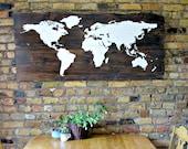 Rustic Wood World Map Sign - Reclaimed Barn Wood - Rustic Decor - Wall Decor - 54 x 24