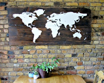 Rustic Wood World Map Sign - Reclaimed Barn Wood - Rustic Decor - Wall Decor - 54 x 24