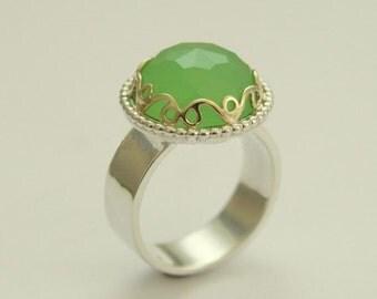 Green jade ring, gemstone ring, gold crown ring, statement ring, Sterling Silver Ring, silver gold ring, Victorian ring - Royalty R1260