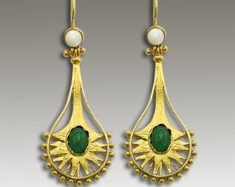 Gold Earrings, aventurine earrings, long earrings, stone earrings, chandelier earrings, ethnic earrings, boho - Cirque Du Soleil 2. EG2206-1