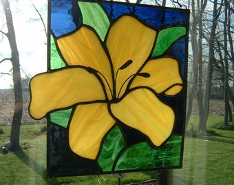 Stained Glass Yellow  Lily Flower Panel Window Hanging Suncatcher