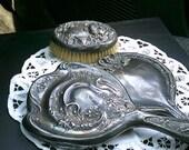 Victorian Mirror and Brush, Antique Silver Metal, Shabby Chic Cottage, Lot, Destash, DIY, Home Decor, Vanity, 1920s, Vintage, Art Nouveau