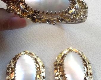 WHITING & DAVIS Vintage Bracelet Earrings Gorgeous Mother Of Pearl  Gold Filigree