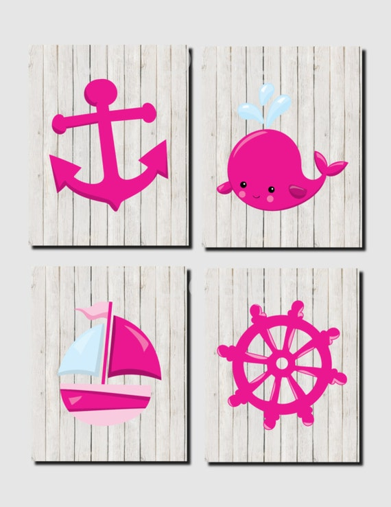 Pink nautical nursery : Nautical nursery, pink, baby girl anchor, whale, sailboat ...