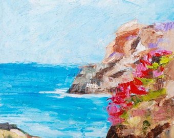 Modern Impressionist Palette Knife California Beach Original Oil Painting Landscape by Rebecca Croft