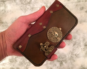 Handmade leather iPhone 6s Plus cover,leather iPhone 6s Plus case,steampunk iPhone case,pirates of the caribbean iPhone case,skull case