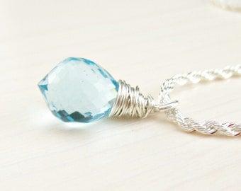 Blue Topaz Quartz Necklace, Aquamarine Necklace, Sterling Silver Rope Chain, Sky Blue Gemstone Pendant Necklace Wire Wrapped Blue Stone Drop