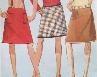 1960s Vintage Simplicity Skirt Sewing Pattern 6595 Uncut Junior Petit Teen Hip Hugger A Line Skirt Size 5JP Hip 33 How to Sew Series
