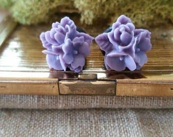 Flower Plugs, Wedding Gauges, Light Purple Flower Gauges