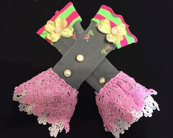 Floral Fancy Pink/Green Armwarmers