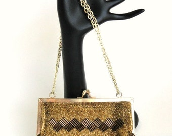 Vintage Gold and Copper Diamonds Beaded Purse Evening Bag Handmade//Hollywood Glamour