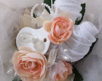 Pin On Baby Girl Shower Corsage - White and Peach Baby Shower Corsage - Pacifier and Washcloths -  Corsage