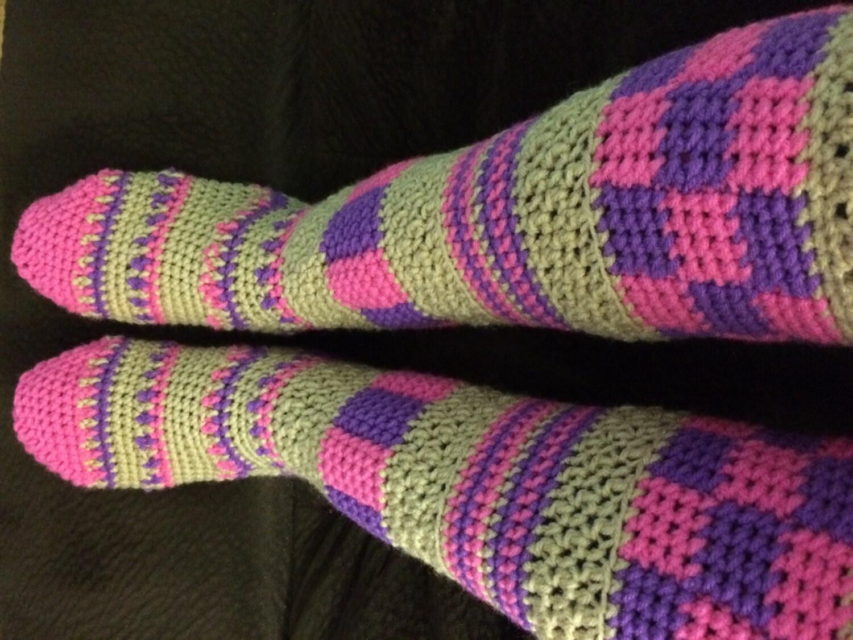 Crochet Knee High Slipper Socks Free Pattern Dancox For