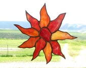 Stained Glass Suncatcher - Red Orange Sunflower - Handmade Glass Home Decor