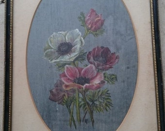 Antique Poppy Flower Oil Painting in Frame Early 1900's