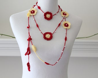 Crocheted Lariat Red Yellow Necklace with Pearl