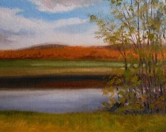 The Far Ridge_Landscape_Pochade Box Painting_Alla Prima Study_En Plein Air_Gold Leaf Wood Frame_Original Oil Painting