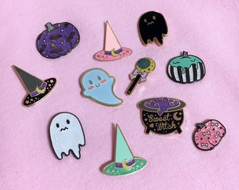 HALLOWEEN Enamel Pins Seconds Sale - CLEARANCE Uneasy Ghost, Kawaii Ghost, Pumpkins, Sweet Witch Collection