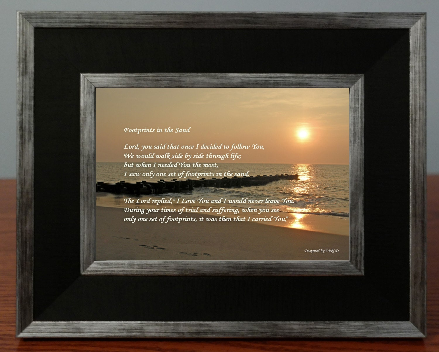 Footprints In The Sand Poem Framed Photo Gift Sunrise