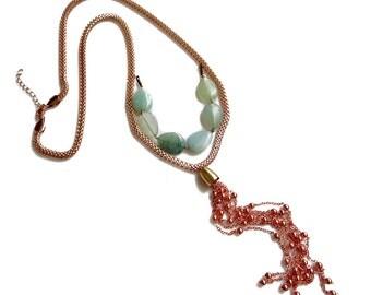 Boho Tassel Necklace,  Rose Gold Necklace, Mint Jade Statement Necklace
