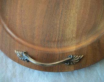 Vintage Walnut Tray Brass Handles Ozark Walnut Ware Solid Walnut Serving Tray