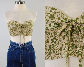 Vintage 50s 60s olive green floral bustier top / Perfect summer bra top / size 36 / Unworn deadstock MINT condition