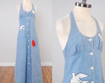 Vintage 60s 70s chambray halter maxi dress with PEACE DOVE appliqué / Patchwork maxi dress / Cutest hippie dress
