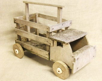 Vintage Handmade Folk Art Wooden Truck, Toys, Trucks, Primitive, Rustic Toys, Vehicle,Transportation, Pickup, Hauler, Weathered