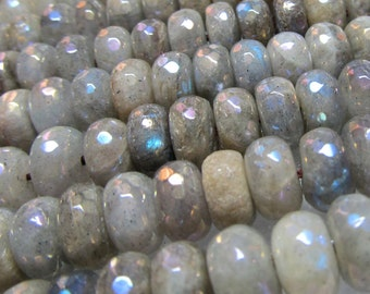 Labradorite Beads 10 x 6mm Faceted Rondelle Beads Coated W/ a Permanent AB Sheen - 4 inch Strand