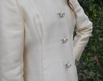 Vintage Ivory Silk Shantung Coat Circa 1950