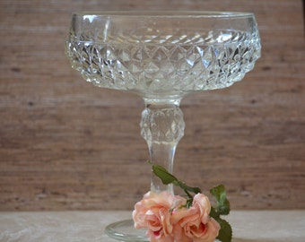 Tall Stem Candle Holder by Indiana Glass/Diamond Point Clear Glass/Press Glass Compote Dish/Candle Holder Centerpiece/1965-1990