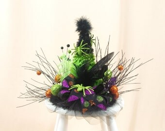 Halloween Tree Topper * Witch Hat Tree Topper * Halloween Decor * Black and Green Halloween * Witch Centerpiece * Halloween Witch