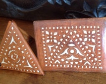 Wallet set of 2 ~ Vintage Brown Leather  Wallets ~  Wallet and Coin Portemonnee ~ pockets