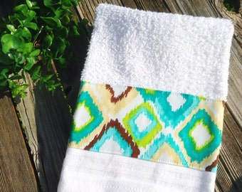 White towel with turquoise Browns and blues insert decorative kitchen or bath hand towel-so cute