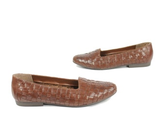 Vintage 80s Leather Woven Shoes Brown Flats Slip On Shoes Womens Size 8 1980s Hippie Boho Hipster Fashion