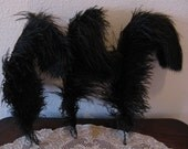 Vintage Antique Three Black Ostrich Plume Feathers, for Millinery & Crafting